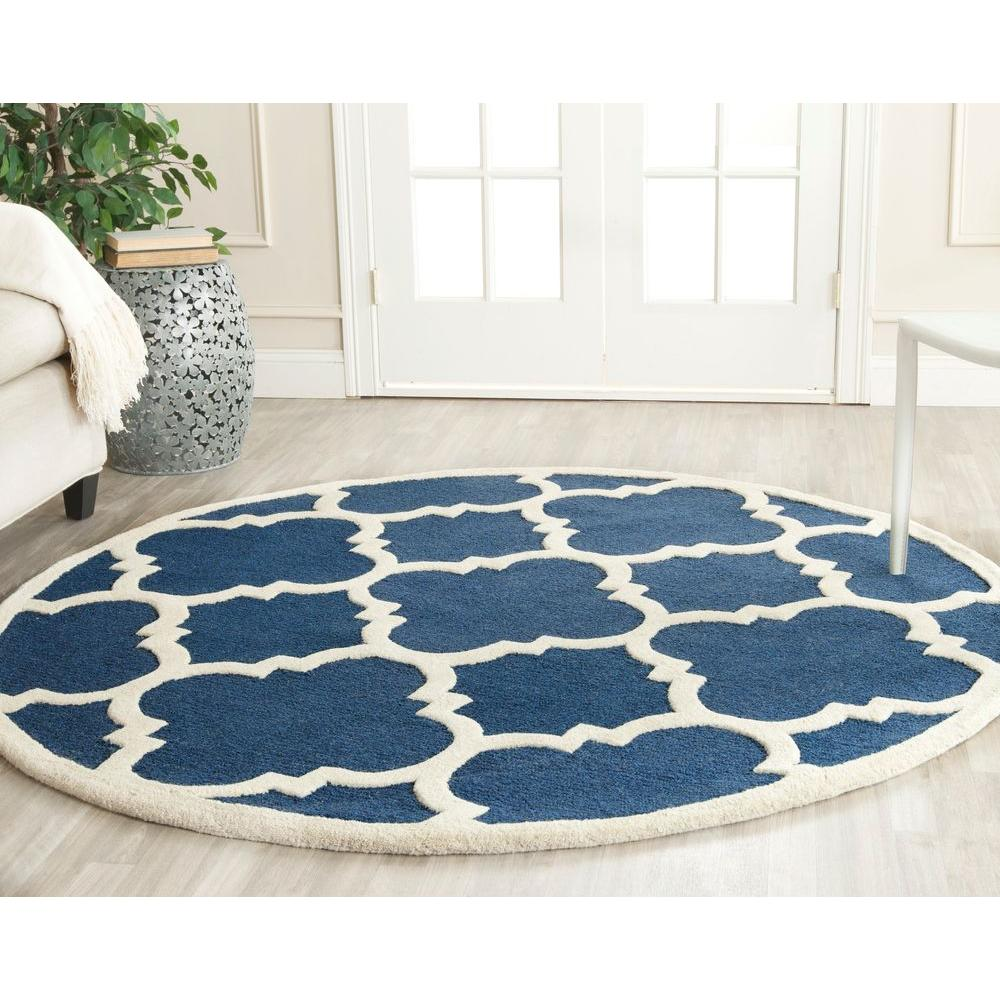 Safavieh Cambridge Navy Ivory 4 Ft X Round Area Rug