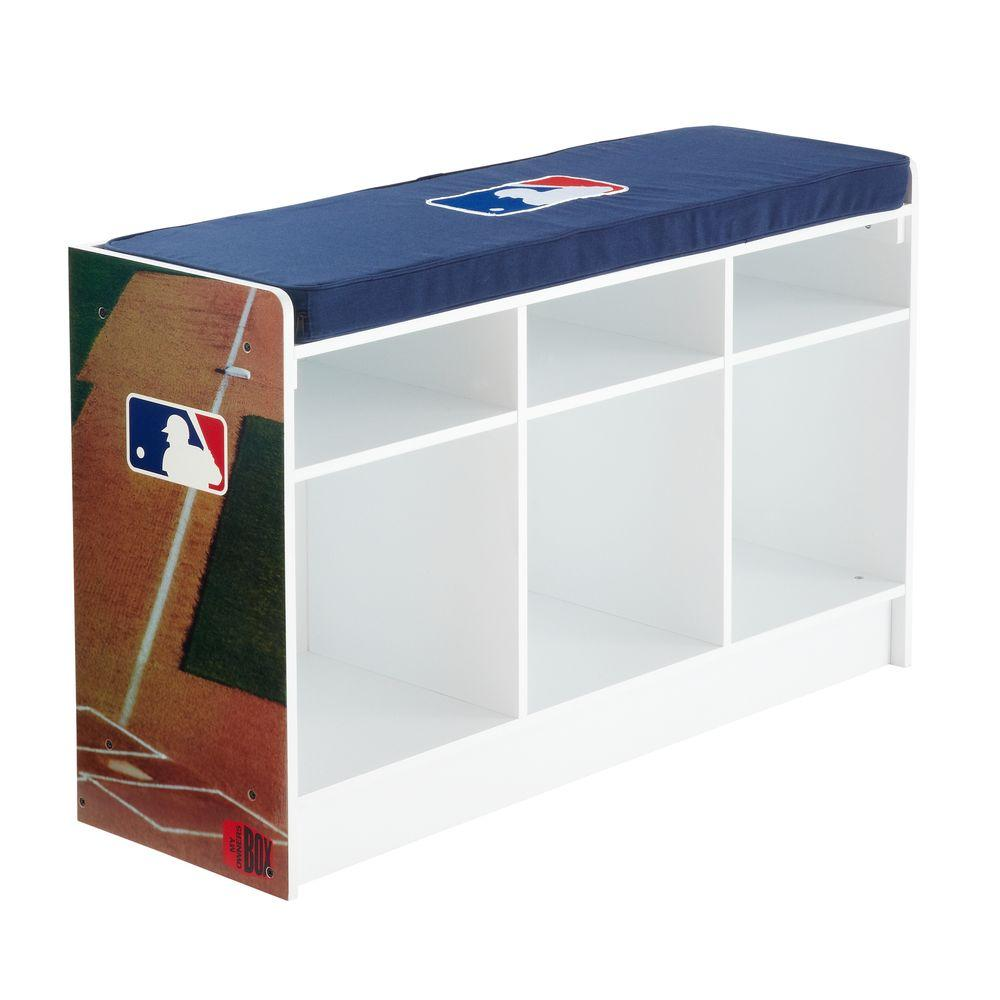 MyOwnersBox MLB Cubeits 36 in. x 22 in. White 3-Cube Bench Organizer