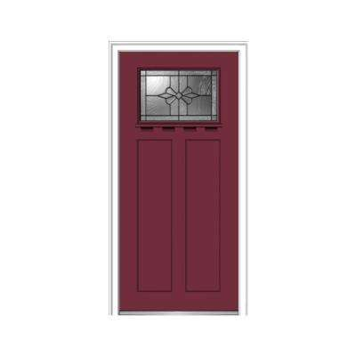36 in. x 80 in. Dahlia Right-Hand Inswing 1-Lite Decorative Painted Fiberglass Smooth Prehung Front Door with Shelf