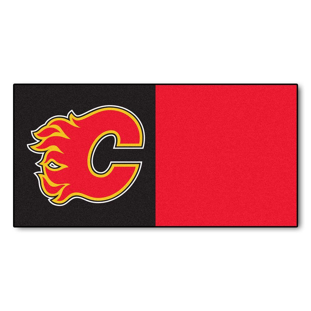 FANMATS NHL - Calgary Flames Black and Red Pattern 18 in. x 18 in. Carpet Tile (20 Tiles/Case)