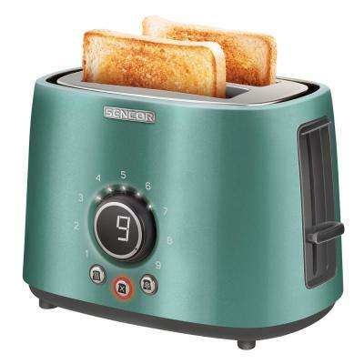 2-Slice Green Long Slot Toaster with Rack