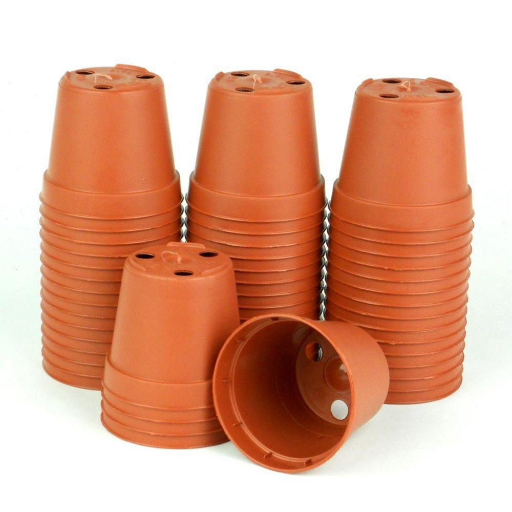 2 in. Terra Cotta (Red) Plastic Pots (Pack of 50)