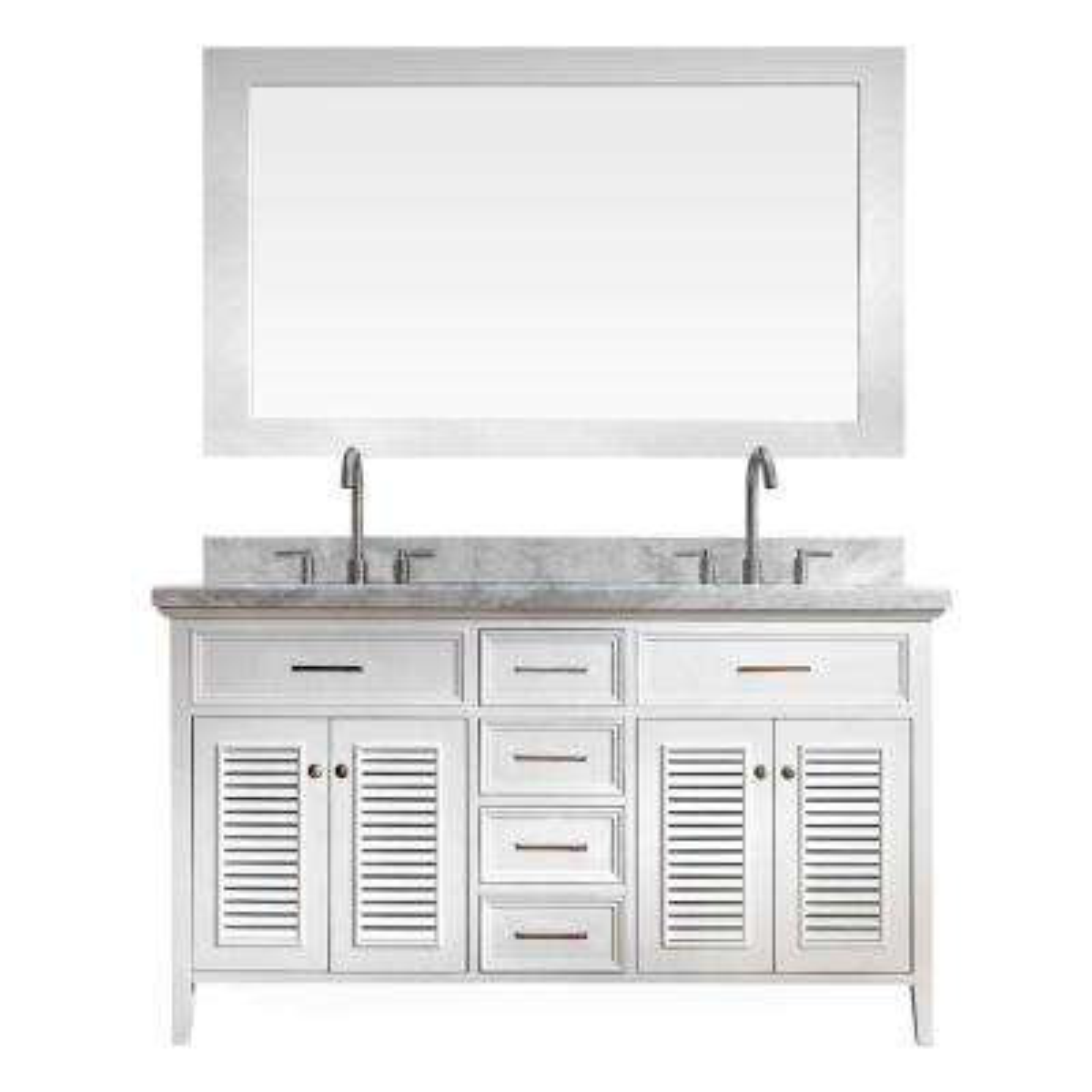 Kensington 61 in. Bath Vanity in White with Marble Vanity Top in Carrara White with White Basins and Mirror