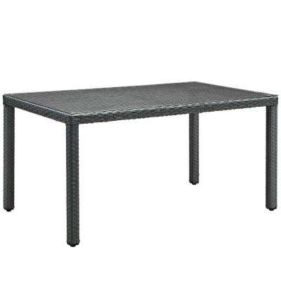 Sojourn in Chocolate 59 in. Patio Wicker Outdoor Dining Table