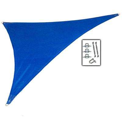 15 ft. x 12 ft. x 10 ft. Cobalt Blue Right Triangle Ultra Shade Sail with Kit