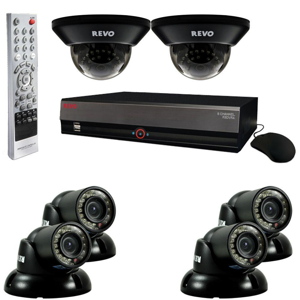 Revo 8-Channel 1TB DVR Surveillance System with (6) 700TVL 100 ft. Night Vision Cameras