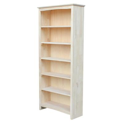 72 in. Unfinished Wood Wood 6-shelf Standard Bookcase with Adjustable Shelves