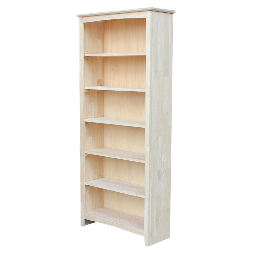 72 in. Unfinished Wood Wood 6-shelf Standard Bookcase with Adjustable Shelves