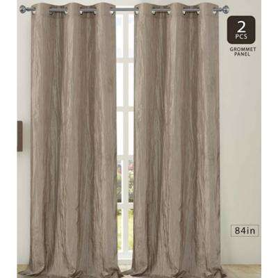 Jackson 38 in. W x 84 in. L Crushed Silk Window Panel Pair in Taupe (2-Pack)