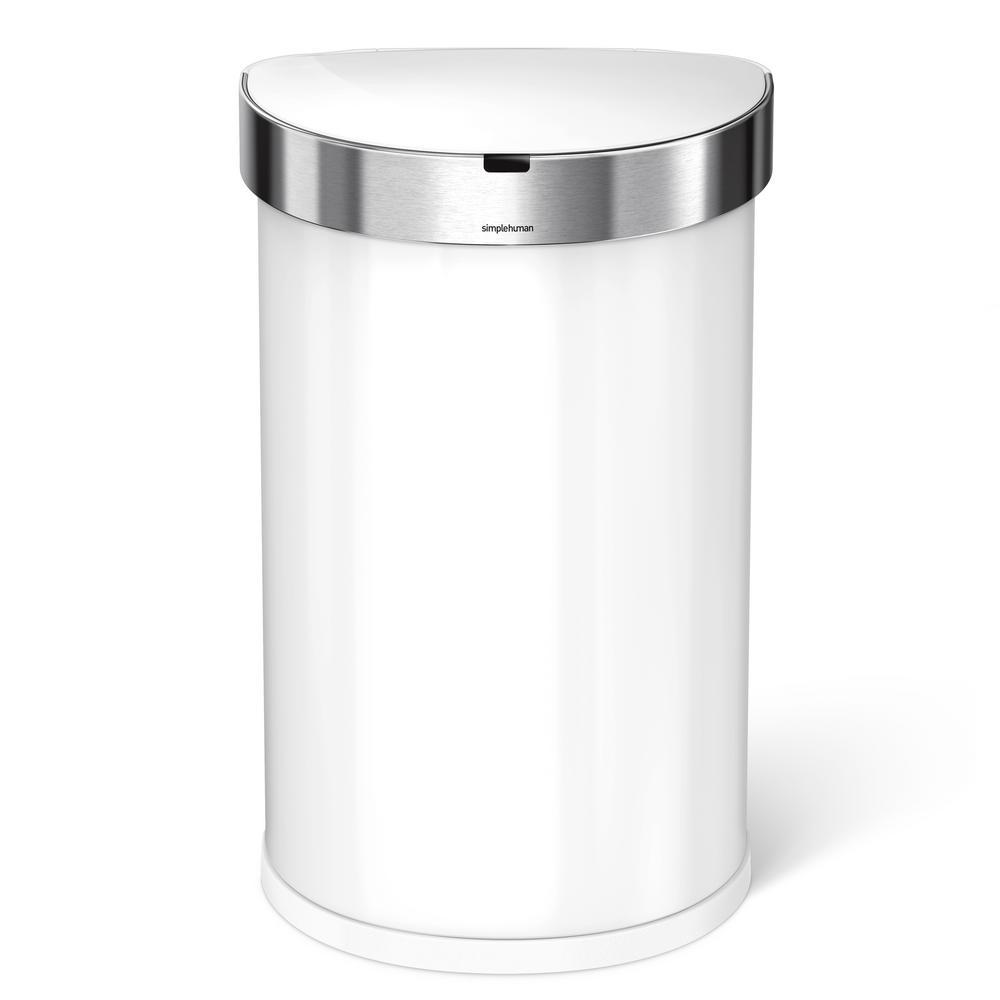 . simplehuman 11 88 Gal  Semi Round White Stainless Steel Sensor Can