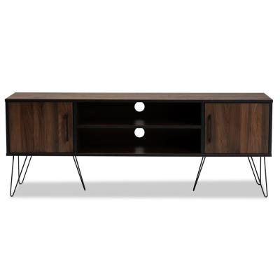 Corina Walnut and Black TV Stand