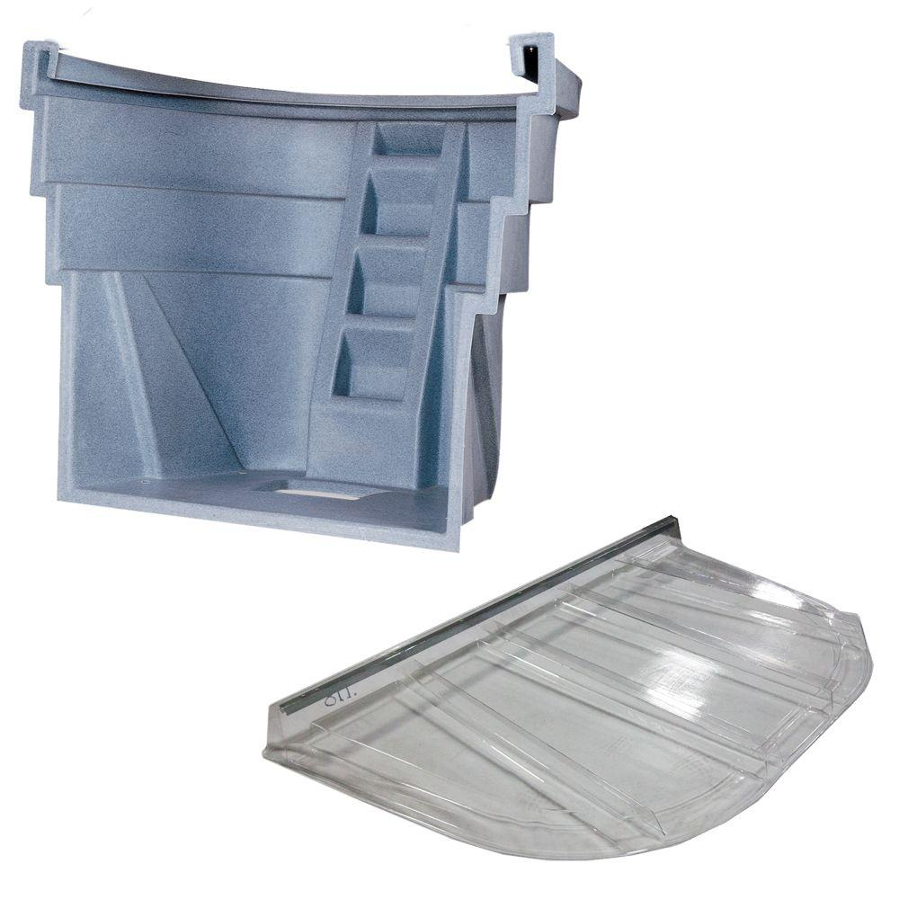 2060 090 Gray Granite Egress Well with Polycarbonate Flat Cover Bundle