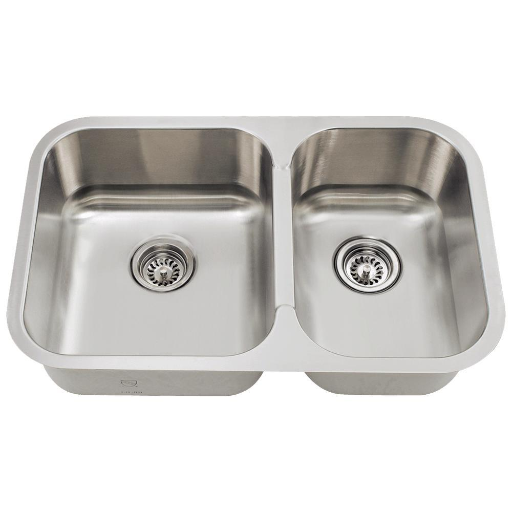 mr direct undermount stainless steel 28 in double bowl kitchen sink rh homedepot com blanco double bowl stainless steel undermount kitchen sink kraus 16-gauge double-basin undermount stainless steel kitchen sink