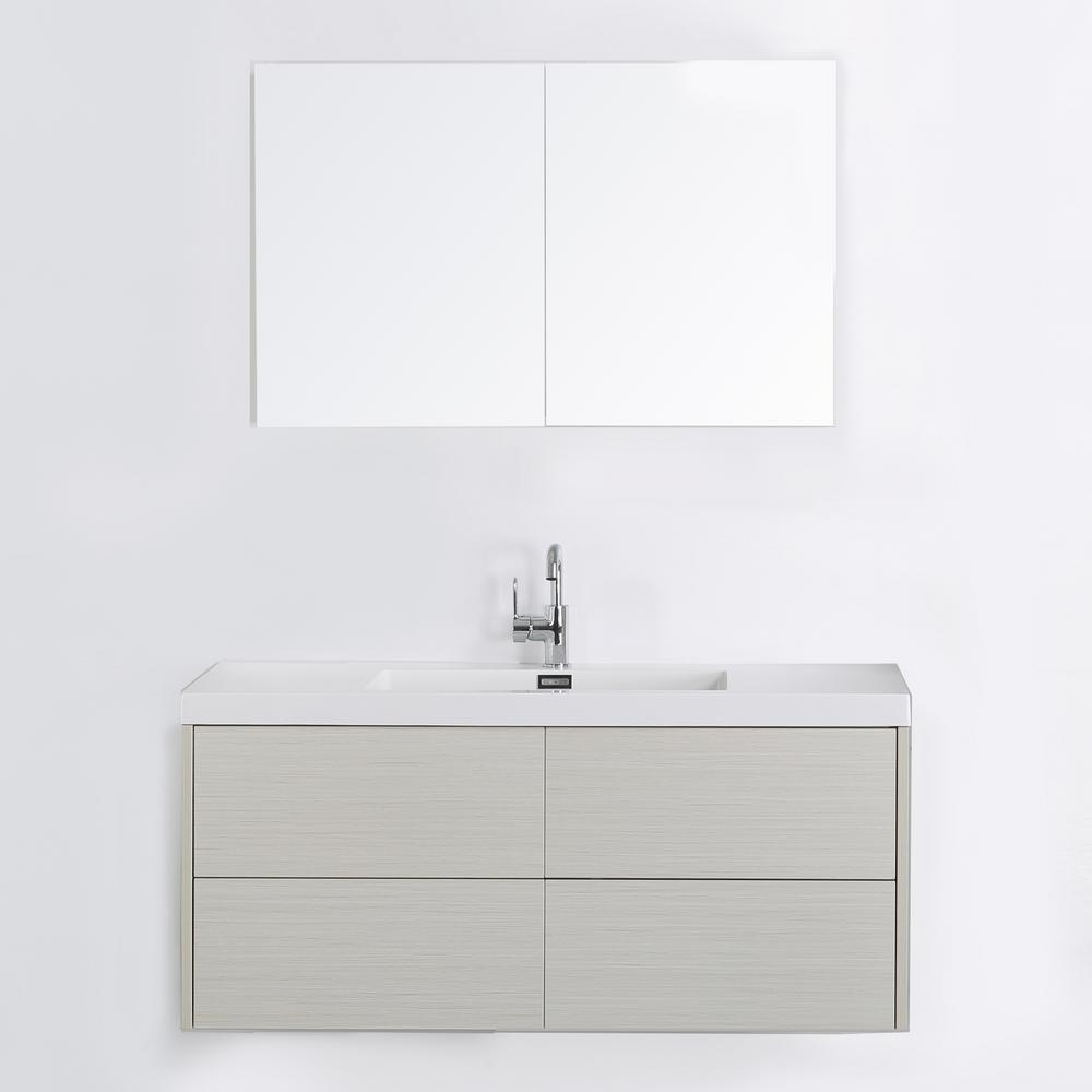 Streamline 47.2 in. W x 19.5 in. H Bath Vanity in Gray with Resin Vanity Top in White with White Basin and Mirror
