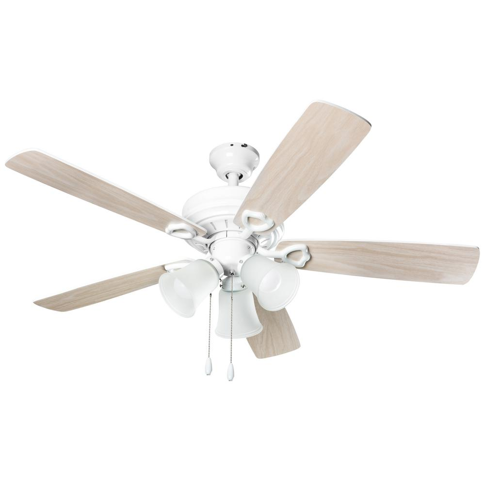 Hyperikon 3 Light 42 In Indoor White Wood Ceiling Fan With Light Kit Hyperfan42 Bwh The Home