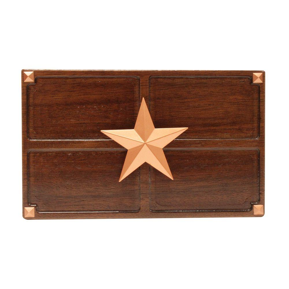 Wireless or Wired Door Bell, Medium Oak Wood with Texas Star