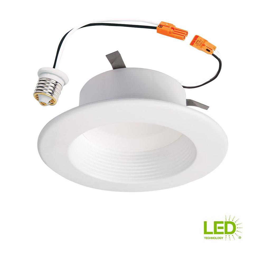 RL 4 in. White Integrated LED Recessed Ceiling Light Fixture Retrofit