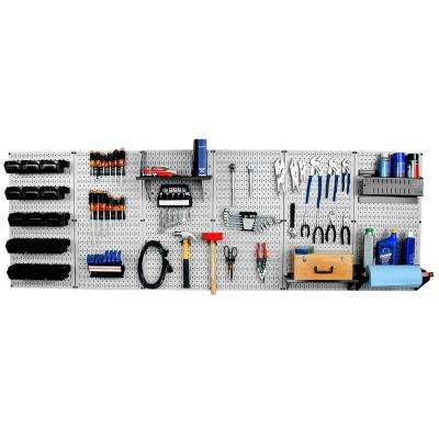 32 in. x 96 in. Metal Pegboard Master Workbench Tool Organizer with Gray Pegboard and Black Accessories