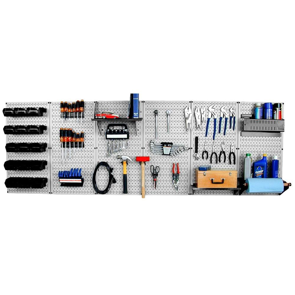 Wall Control 32 in. x 96 in. Metal Pegboard Master Workbench Tool Organizer with Gray Pegboard and Black Accessories
