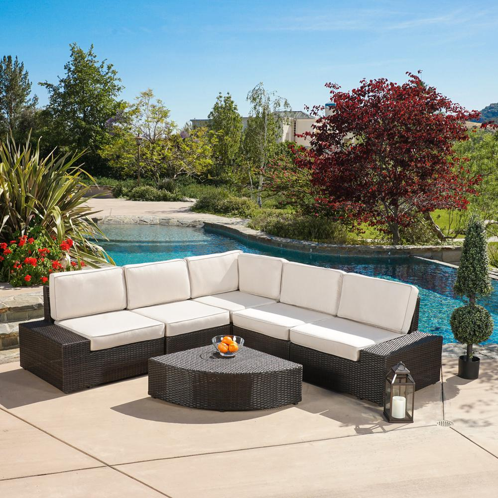 Noble House San Vicente Brown 6-Piece Wicker Outdoor Sectional Set with Sunbrella Cushions