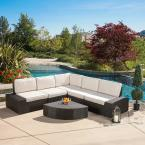 San Vicente Brown 6-Piece Wicker Outdoor Sectional Set with Sunbrella Cushions
