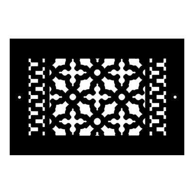 Scroll Series 10 in. x 6 in. Cast Iron Grille, Black with Mounting Holes