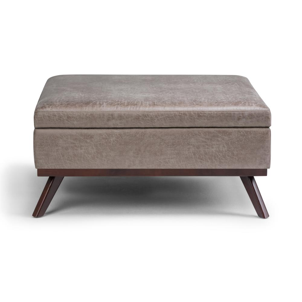 Distressed Wood Storage Ottoman ~ Simpli home owen distressed grey taupe air leather storage