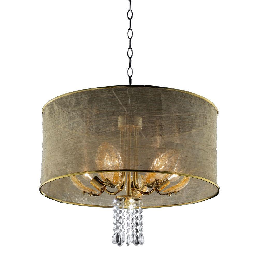 All White With Gold Leaf Ceiling And Degournay Coco: OK LIGHTING 5-Light Gold Leaf Crystal Ceiling Lamp-OK