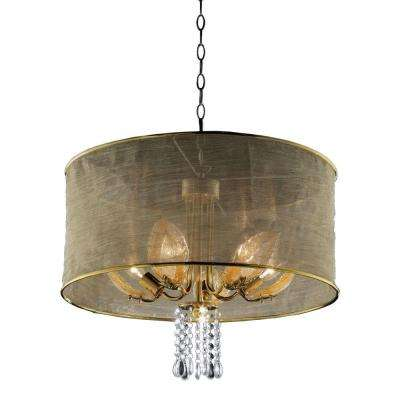 5-Light Gold Leaf Crystal Ceiling Lamp