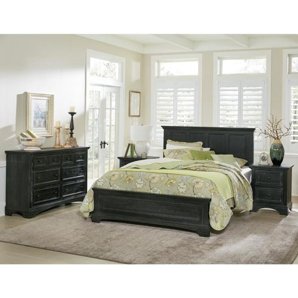 Farmhouse Basics Rustic Black Queen Bedroom Set with 2 Nightstands, and 1 Dresser (7-Pieces)