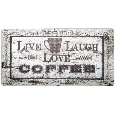 Cook N Comfort Beige Live Laugh Coffee 20 in. x 39 in. Kitchen Mat