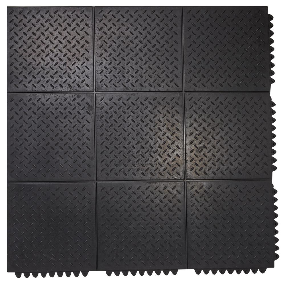 Rubber Floor Mat >> Envelor Durable Anti Fatigue Interlocking Commercial Solid 37 In X
