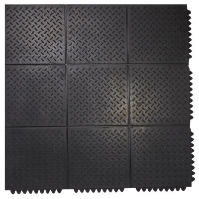 Durable Anti-Fatigue Interlocking Commercial Solid 37 in. x 37 in. Rubber Floor Mat