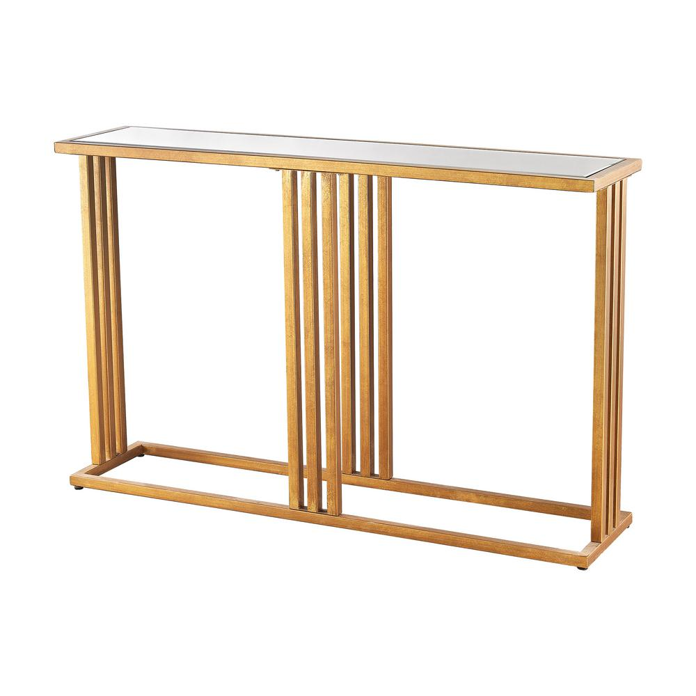 Superieur Titan Lighting Andy Gold Leaf And Clear Mirror Console Table