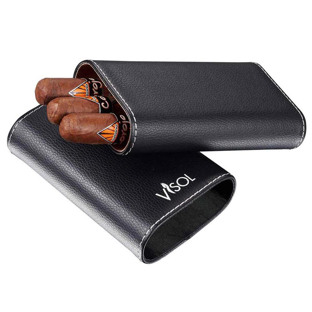Visol Arapaho Cigar Case - Holds up to 70 Ring Gauge Cigars, Blacks Find a new carrying favorite in the Visol Arapaho. This crush proof case will protect up to 3 of your larger ring gauge cigars and looks good while doing it, especially with stainless steel caps on the top and bottom. The black pebbled leather of the Arapaho is so soft and smooth, you'll never want to stop holding it. Should you need to store it somewhere, it will fit great in your jacket pocket. The adjustable top is lined with nylon for an even tighter and more secure close while the cedar lining of the bottom keeps your cigars fresh. Color: Blacks.