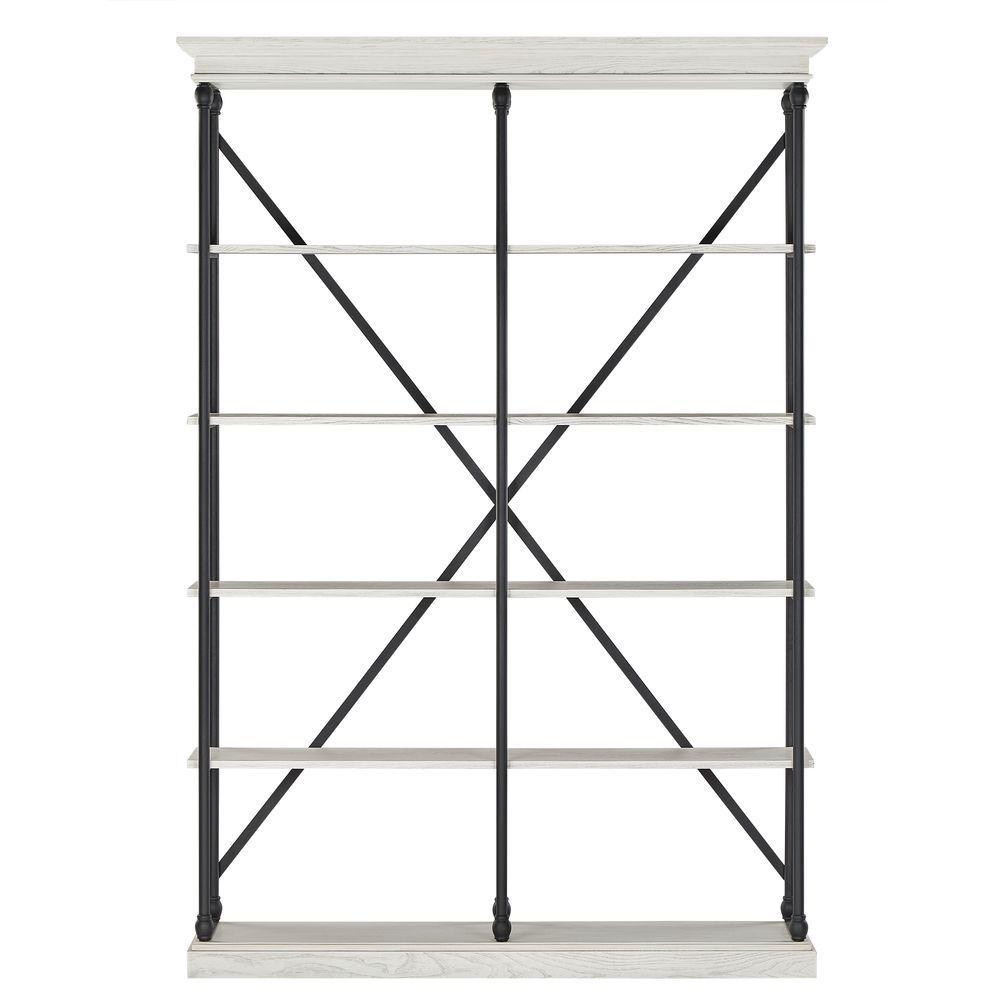 84 in. White Wash Metal 5-shelf Etagere Bookcase
