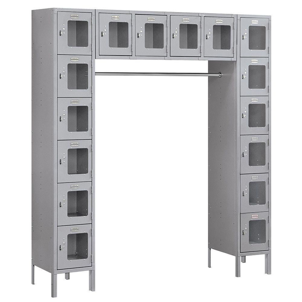 S-66016 Series 72 in. W x 78 in. H x 18 in. D 6-Tier Box Style Bridge See-Through Metal Locker Assembled in Gray