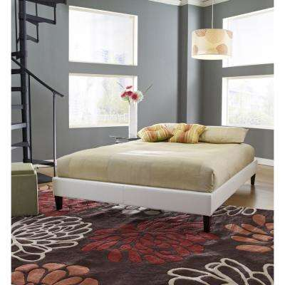 Charleston White Full Upholstered Platform Bed