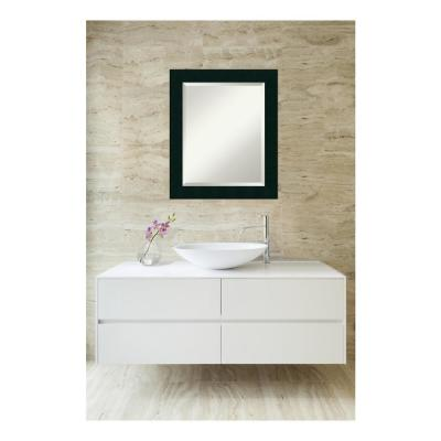 Tribeca Matte Black Wood 20 in. W x 24 in. H Single Contemporary Bathroom Vanity Mirror