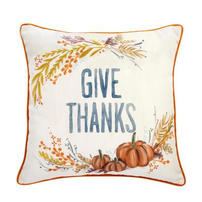 18 in. Give Thanks Square Decorative Harvest Pillow
