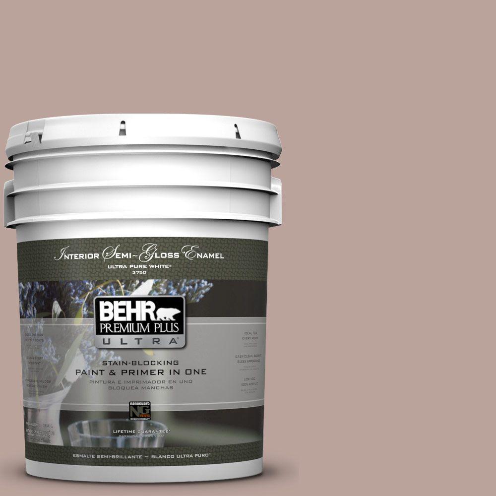 BEHR Premium Plus Ultra 5-gal. #N150-3 Cocoa Craving Semi-Gloss Enamel Interior Paint