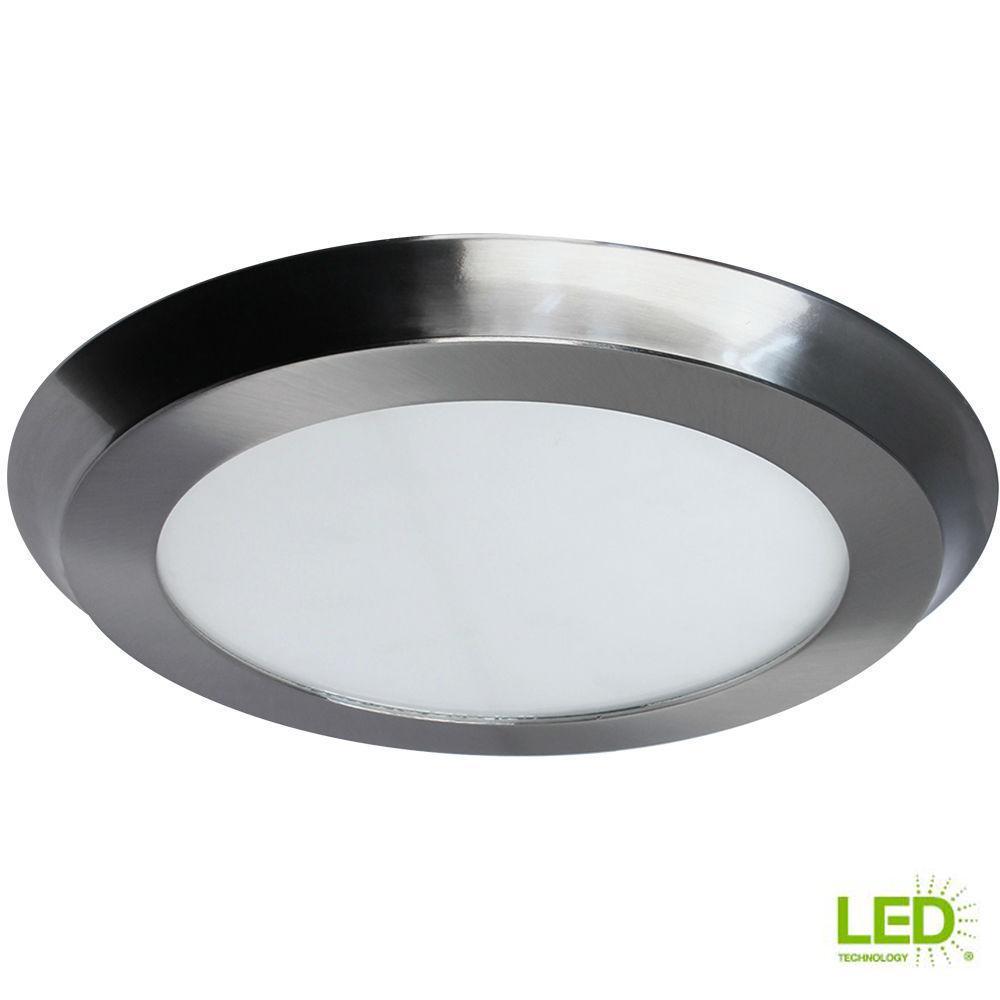22-Watt 15 in. Nickel Integrated LED Flat Round Panel Flushmount