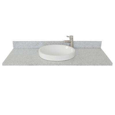 Ragusa III 49 in. W x 22 in. D Granite Single Basin Vanity Top in Gray with White Round Basin