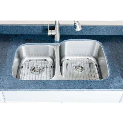 The Craftsmen Series Undermount 32 in. Stainless Steel 40/60 Double Bowl Kitchen Sink Package
