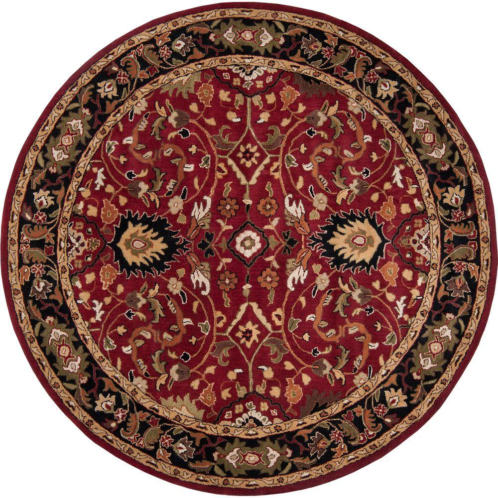 John Red 4 ft. Round Area Rug