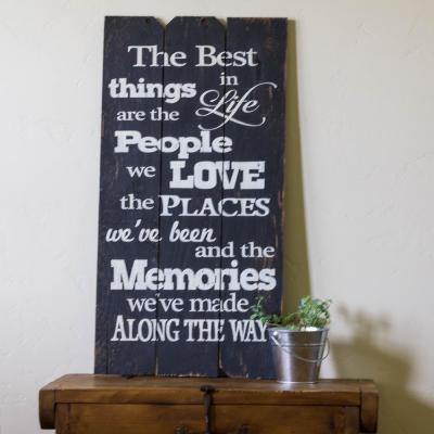 "18 in. x 36 in. ""Best Things In Life"" by Boulder Innovations Printed Wood Wall Art"