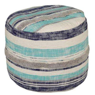 Casual Striped 18 in. x 14 in. Ocean Blue Indoor Ottoman Pouf
