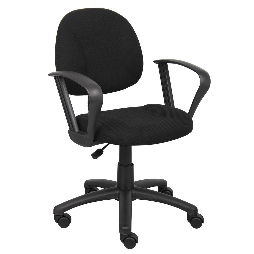 HomePro Loop Arm Task Chair Black Tweed Fabric Pnuematic Lift
