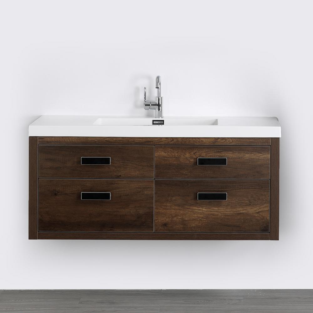 Streamline 47.2 in. W x 19.5 in. H Bath Vanity in Brown with Resin Vanity Top in White with White Basin