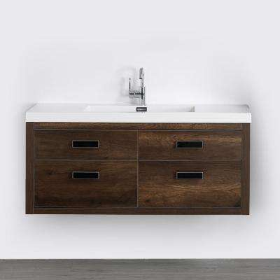 47.2 in. W x 19.5 in. H Bath Vanity in Brown with Resin Vanity Top in White with White Basin